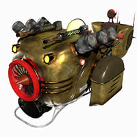 3D steampunk hover bike rigged model