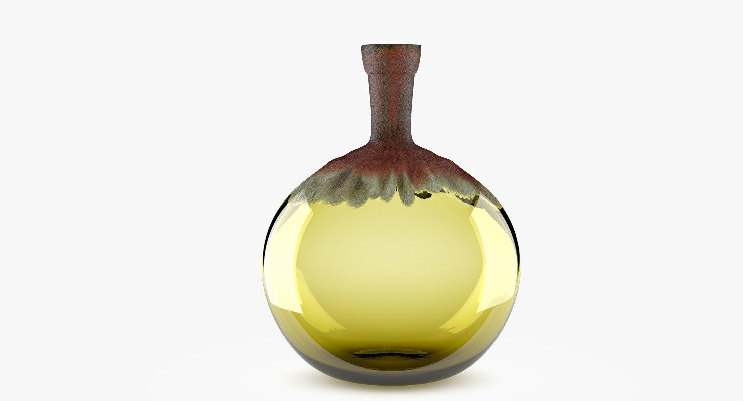 glass vase amber 3D