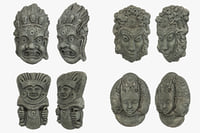 tribal masks pack 3D model