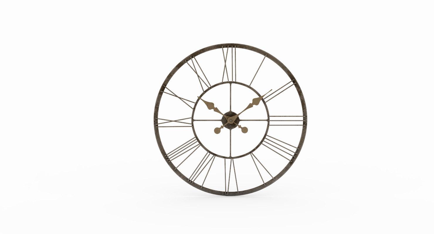 vintage wall clock ashton 3D model