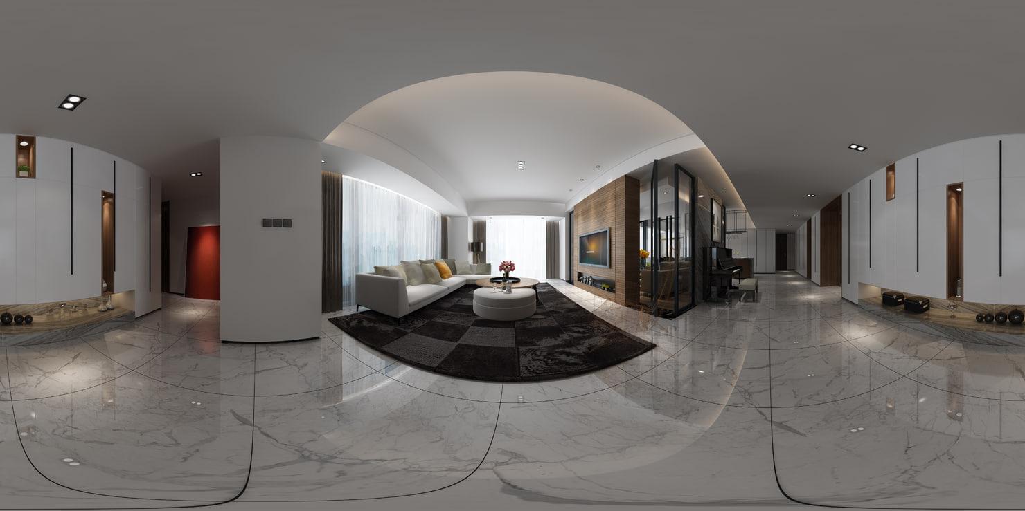 3D living room restaurant
