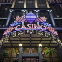 3D model night casino building