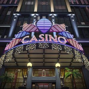 3D model night casino building