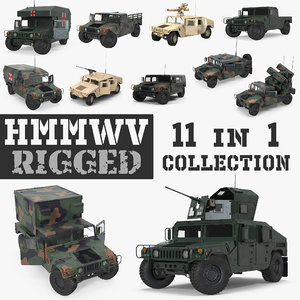 3D rigged hmmwv model
