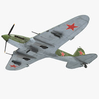 Ilyushin Il-2 WWII Soviet Attack Aircraft Rigged 3D Model
