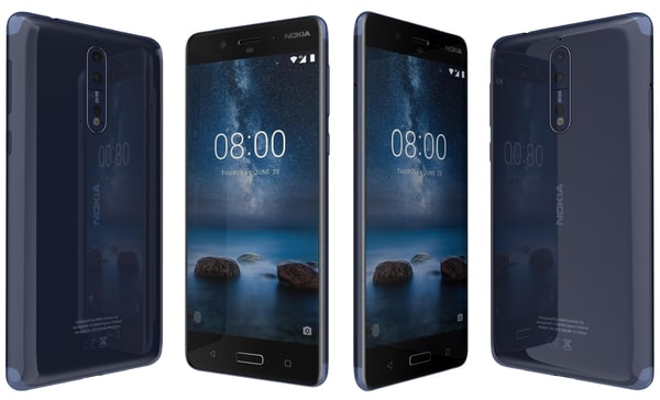 3D model nokia 8 polished blue