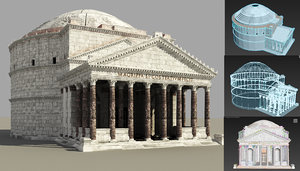 pantheon temple rome italy 3D