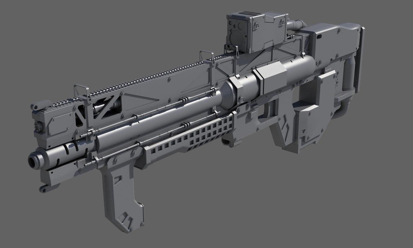 sci-fi rifle 3D