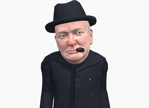 caricature winston churchill 3D model