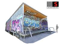 skate park bus stop 3D model