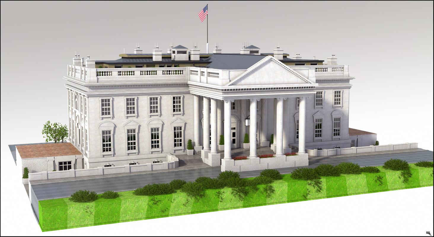 3D white house u model