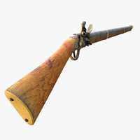 flint lock rifle 3D model