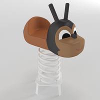 3D model spring swing ladybug