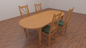 wood table chairs 3D model
