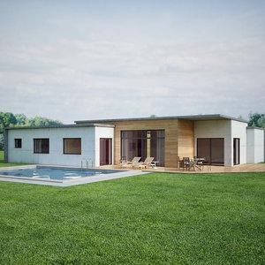 3D contemporary house scene