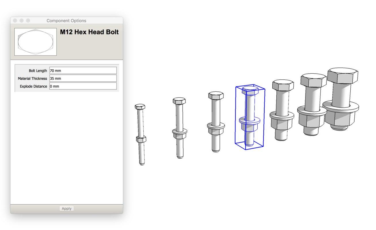 3D dynamic bolt metric model