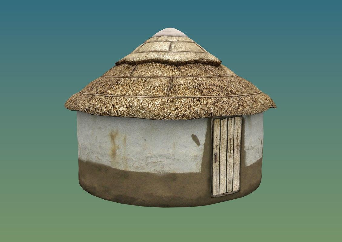 3D medieval hut yurt model