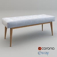 realistic mid-century upholstered bench 3D