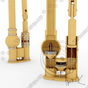 wooden water pump 3D