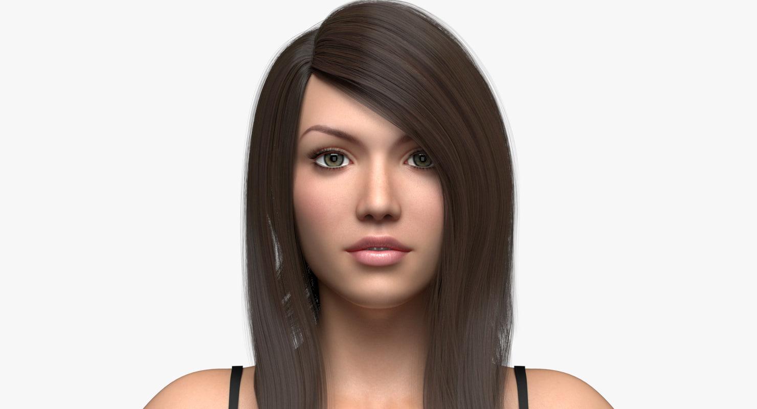 doris 2 0 female hair 3D model