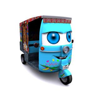 rikshaw character concept 3D