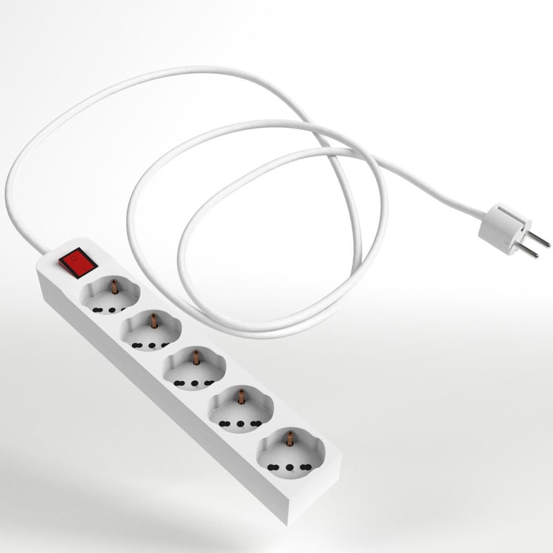 3D schuko strip plug 2