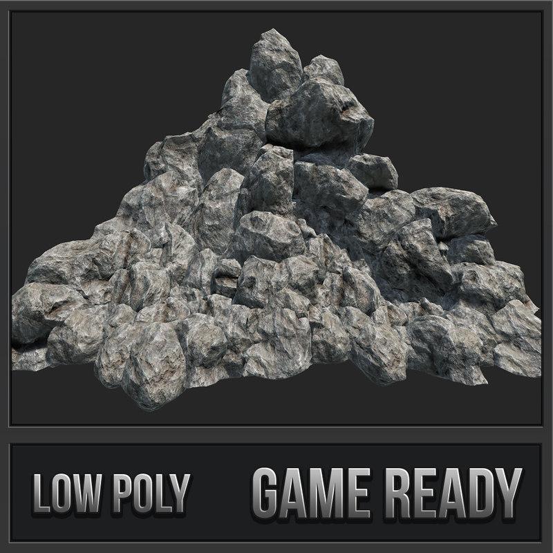 3D model mountain rocks pbr