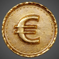 Old Coin with Euro sign - PBR Game-Ready