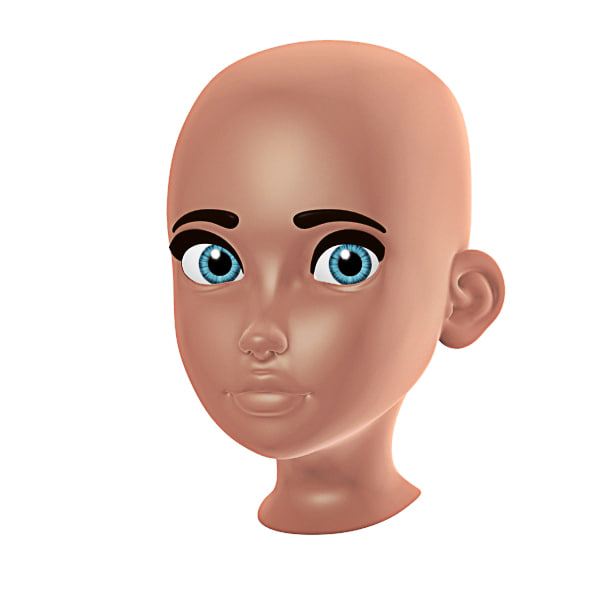 cartoon woman face model
