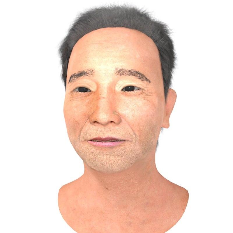 realistic asian man head 3D model
