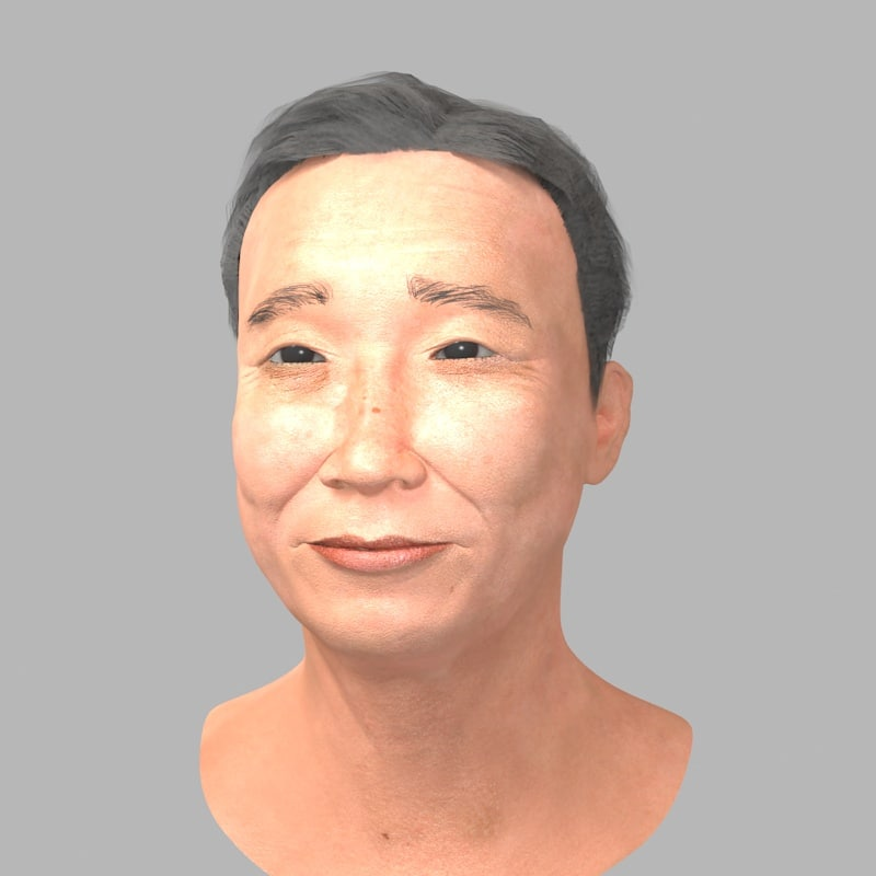 3D realistic asian man head