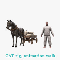 3D peasant horse cart bags model