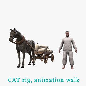 3D peasant horse cart bags model