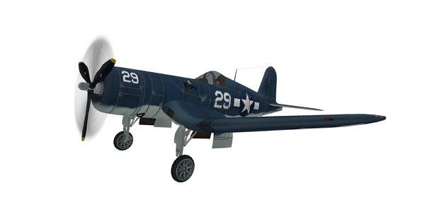 3D model warplane f4u corsair