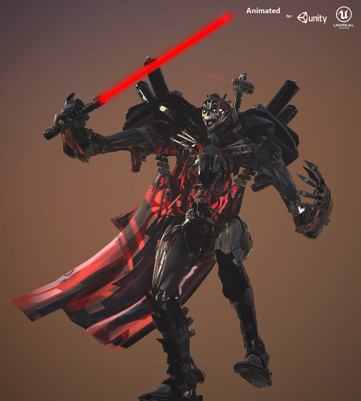 3D cyborg rigged monster