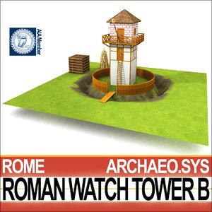 roman watch tower b 3D model