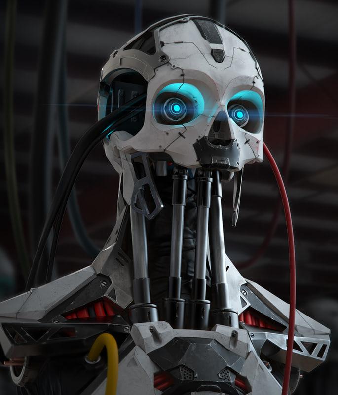 3D cyborg bust