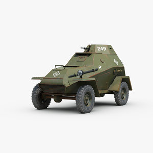 3D ww2 ba 64 armored car model