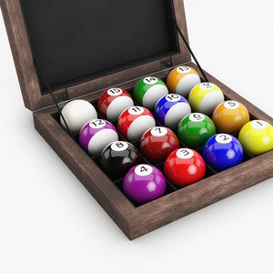 3D model pool balls wood