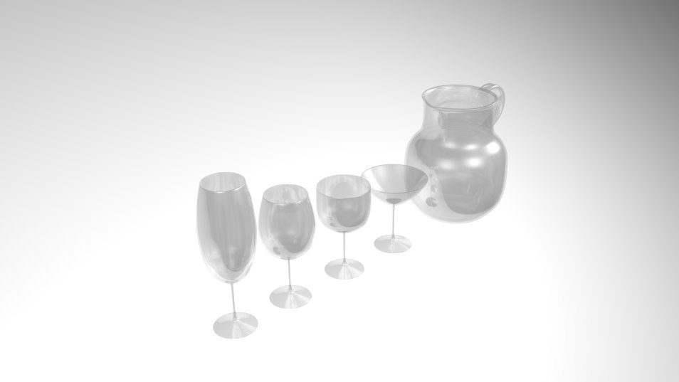 3D model pack wine glass