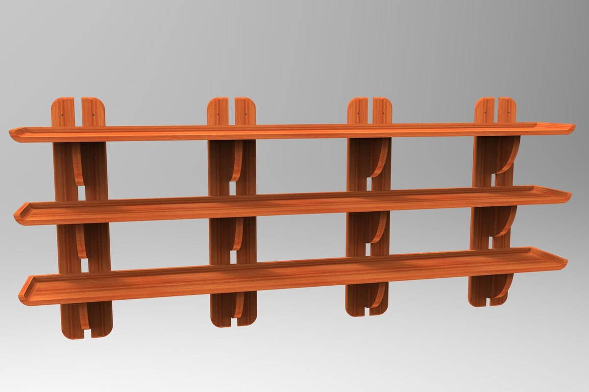 3D wooden bookcase model