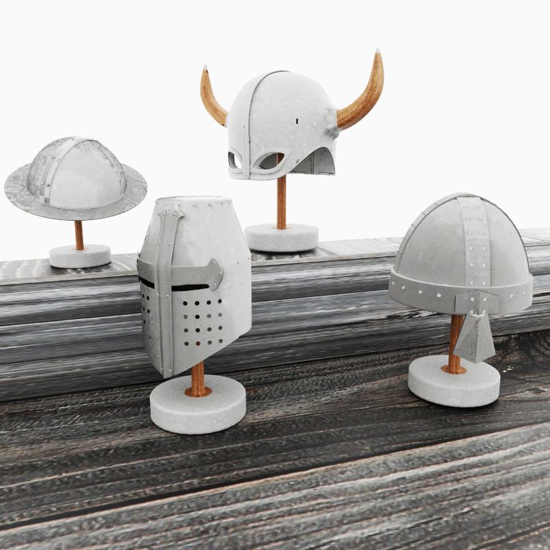 4 medieval helmet 3D model
