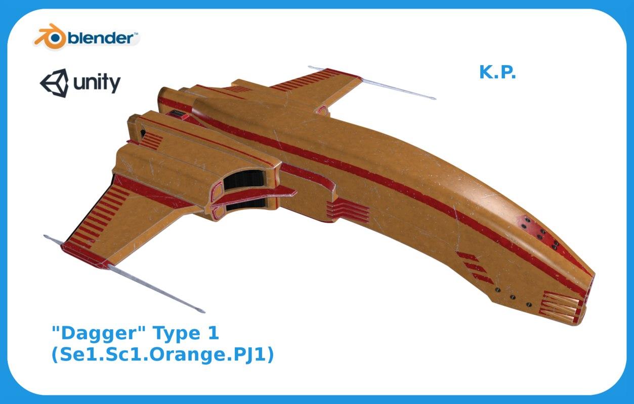 space ship dagger type 3D model