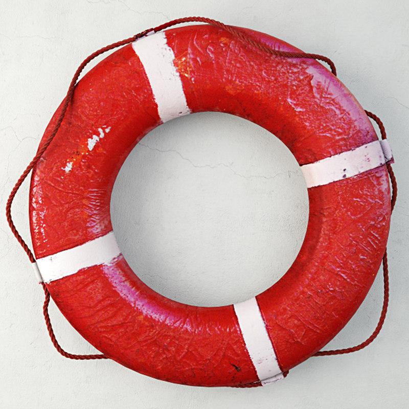 1950s red white life preserver model