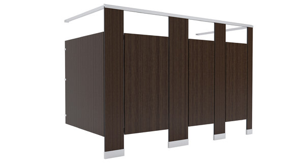 3D restroom stalls wood