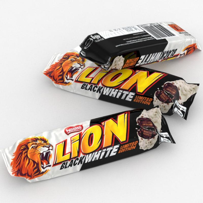 3D nestle lion white model