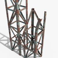 3D model rusty truss