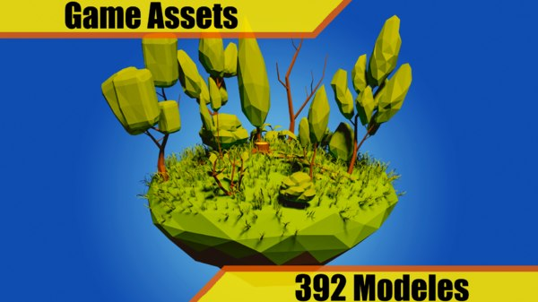 3D model pack trees palm vegetables