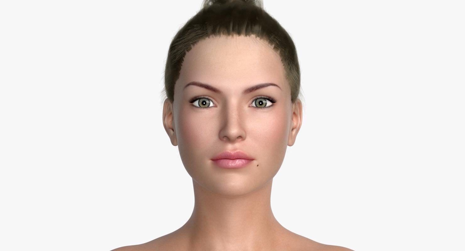 lara female hair 3D model