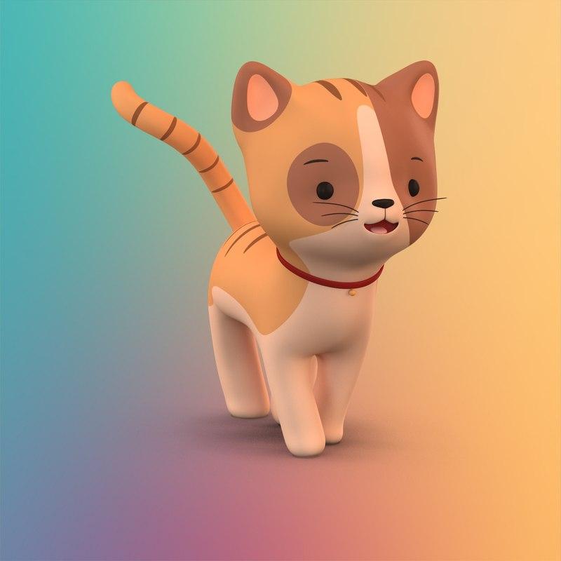 Cute cartoon cat 3D model - TurboSquid 1206414
